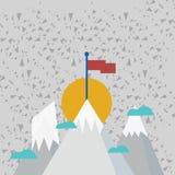 Trois montagnes avec la neige dépasse les petits nuages On a le drapeau coloré vide se tenant à la crête créateur illustration stock