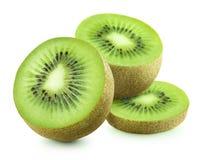 Trois morceaux de kiwi sur le fond blanc Images stock