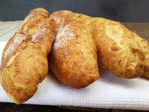 Trois morceaux de pain doux Photos stock
