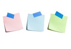 Trois notes collantes sur le blanc Photo libre de droits