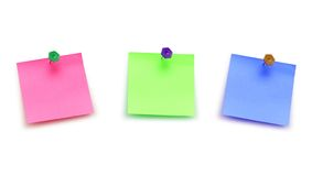 Trois notes de post-it d'isolement Photo libre de droits