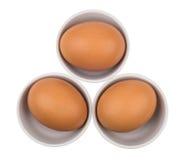 Trois oeufs bruns frais dans des cuvettes d'isolement sur le blanc Photos libres de droits