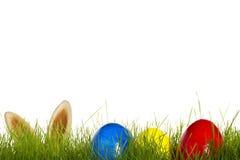 Trois oeufs de pâques dans l'herbe avec des oreilles de Pâques Photo libre de droits