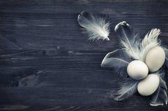 Trois oeufs de poulet sur une surface en bois brune Image stock