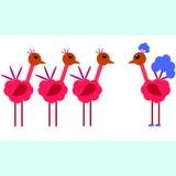 Trois oiseaux sont jaloux d'un bel oiseau. Envie illustration libre de droits