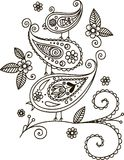 Trois oiseaux sur une branche Fond de conception florale?, contexte, conception de l'illustration illustration libre de droits