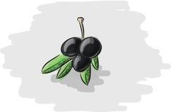 Trois olives vertes Photographie stock