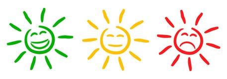 Trois ont coloré des smilies du soleil, ont placé l'émotion souriante, par des smilies, le soleil d'émoticônes de bande dessinée  illustration libre de droits