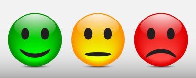 Trois ont coloré des smilies, ont placé l'émotion souriante, par des smilies, des émoticônes de bande dessinée - vecteur illustration stock