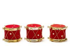 Trois ornements de bille de Noël dans la forme de tambour Image libre de droits