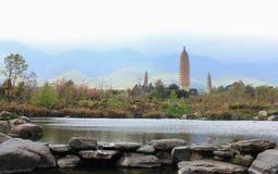 Trois pagoda, Dali, Yunnan, Chine Image stock