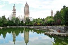 Trois pagodas dans Dali, Chine Photos libres de droits