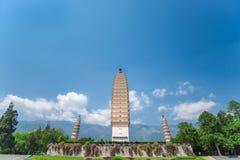 Trois pagodas de temple de Chongsheng Images stock
