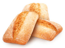Trois pains fraîchement cuits au four de ciabatta traditionnelle de pain italien Photos stock