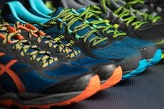 Trois paires d'entraîneurs d'exercice/de chaussures de course sur un plancher de gymnase image stock