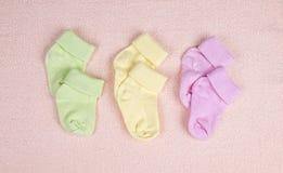 Trois paires de chaussettes de chéri Photographie stock