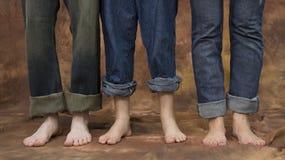 Trois paires de pieds Images stock