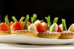 Trois parts de baguette avec du foie et le pâté de pomme et une part mince de tomate sur le dessus DOF peu profond Images stock