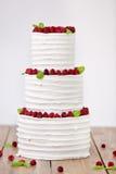 Trois parts de gâteau de mariage nu avec des framboises Photographie stock