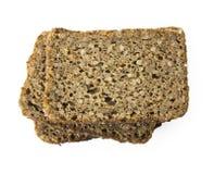 Trois parts de pain brun avec le chemin de découpage Photo stock