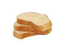 Trois parts de pain. D'isolement. photographie stock