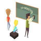 Trois Person With Blackboard, les jeunes Coworking en atmosphère informelle partageant des idées et des expériences illustration stock