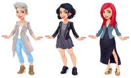 Trois personnages de dessin animé femelles Photos stock