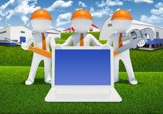 Trois personnes de race blanche 3d avec les outils et l'ordinateur portable Image stock