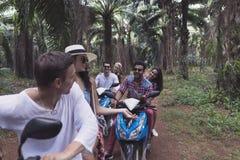Trois personnes gaies de Sit On Scooters Talking Young de couples voyagent ensemble sur des vélos faisant des amis de voyage par  Images libres de droits