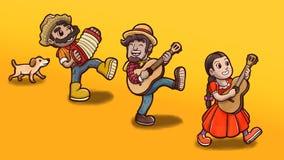 Trois personnes jouant des instruments suivis d'un chien en partie de Festa Junina Fond jaune simple illustration stock