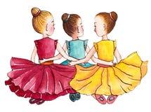 Trois petites ballerines s'asseyant sur le plancher H illustration de vecteur