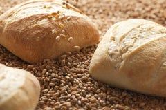 Trois petits pains de pain avec le grain en baisse photographie stock