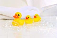 Trois peu de canards en caoutchouc Photo libre de droits
