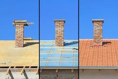 Trois phases d'une construction de toit. Images libres de droits