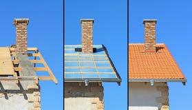 Trois phases d'une construction de toit. Images stock