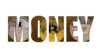 Trois pièces de monnaie de cryptocurrency, bitcoin d'or, litecoin argenté et images libres de droits