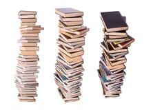 Trois piles de livres Photo stock