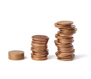 Trois piles de pièces de monnaie Photo stock
