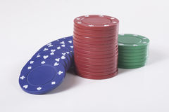 Trois piles de puces de jeu pour un casino Images libres de droits