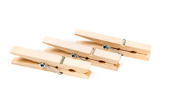 Trois pinces à linge en bois Images stock