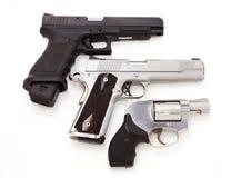 Trois pistolets Photographie stock