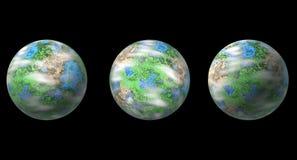 Trois planètes d'isolement sur le noir illustration libre de droits