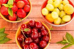 Trois plats de fruit d'été Photographie stock libre de droits