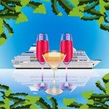 Trois pleins verres sur le fond de bateau de croisière de mer illustration libre de droits