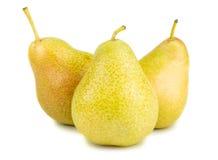 Trois poires jaunes mûres image stock