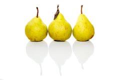 Trois poires réelles sur le blanc d'isolement Photo stock