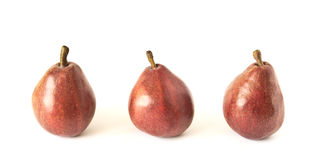 Trois poires rouges Photos libres de droits