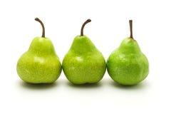 Trois poires vertes Image stock