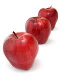 Trois pommes red delicious Photographie stock libre de droits