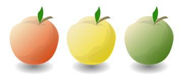 Trois pommes sur un fond blanc Images stock
